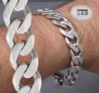 """HEAVY CURB LINK CHAIN STAMPED 925 STERLING SILVER MENS BRACELET 7.7 8 8.5 9 10"""""""