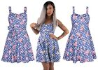 Women Vintage Style A Line Pleated Skirt Floral Sweetheart Neckline Tunic  Dress