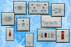 WHITE STEEL PLATE USB PLUG SOCKETS STANDARD OR LED DIMMER LIGHT SWITCHES