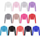 New Womens Polo Neck Crop Basic Long Sleeve T Shirt Ladies Short Plain Top 8-14