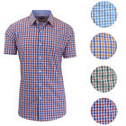 Galaxy by Harvic Men's Slim Fit Checkered Button Down Short Sleeve Shirt