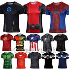 Mens Marvel Superhero Compression T-shirt Costume Sports Fitness  Spider man