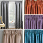 "Pair Plain Textured Woven Effect Thermal Blockout Curtains, 3"" Pencil Pleat Tape"