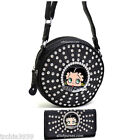 Betty Boop Cylinder quilted rhinestones rhound box Cross-Body Bag wallet set $44.84 USD