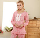 Comfortable Lace Wrinkle Cotton 2pcs Female's Sleepwear Pajama sets M/L/XL/2XL