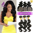 Brazilian Hair Human Hair Extensions Weave 3 bundles hair with closure US STOCK