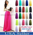 2018 Women Adult Teen Double Layer Skirts Chiffon Long Maxi Elastic Waist Skirt