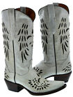 Women's Off-White Brown Studded Wings Fleur De Lis Cowboy...