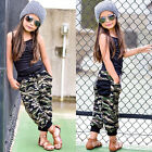 Toddler Kids Baby Girl Sleeveless Tops+Camouflage Long Pants Outfits Clothes Set
