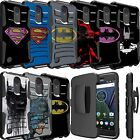For LG Phone Models Armor Rugged Holster Case Clip Hybrid Armor Superman Batman