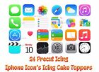 24 x Edible *PRECUT* Icing Iphone Icons  or 18 x Emoji's Cake Cupcake Toppers