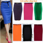 NEW WOMEN HIGH WAIST PENCIL SKIRT STRETCH BODYCON OFFICE LADY WITH Belt R1
