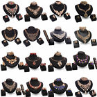 Bib Flower Crystal Pendant Statement Chain Chunky Necklace Ring Jewelry Set Prom