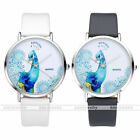 Blue Peacock Pattern Silvery Case Faxu Leather Band Quartz Wristwatch Gift US