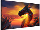"Dragon In Sunrise Fantasy Art 30x20"" Canvas Wall Art Picture Print Framed"