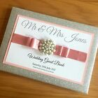 PERSONALISED GLITTER WEDDING GUEST BOOK - Engagement/Anniversary - Many Colours