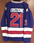 Ice Hockey 1980 Miracle On Ice Team USA Mike Eruzione 21 Hockey Jersey Blue