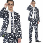 Teen Skeleton Suit XS S Tie Halloween Fancy Dress Costume Smart Boys Smiffys