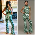 MACBETH COLLECTION Liquid Knit Green Pink Printed Halter Top Flare Pant XS-L $90