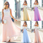 Long Chiffon Women's Lace Sleeveless Evening Dress Formal Party Bridesmaid Dress