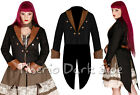 Banned Bronze Screws Steampunk Black Twill Brown Leather Unisex Tail Coat Jacket