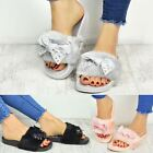 Womens Ladies Comfy Bow Slider Flat Faux Fur Slipper Diamante Sandal Slides Size