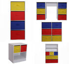 Kids Storage Canvas Drawers Children Bedroom Bookcase Toy Chest Red Yellow Blue