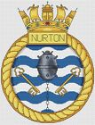 "HMS Nurton Royal Navy Ship Crest Cross Stitch Design (6x8"",15x20cm,kit/chart)"