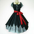 Black Vintage Roses 50s PIN UP ROCKABILLY SWING DRESS Full Swing Selectable Size