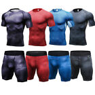Mens Workout Outfit Compression Sportswear Athletic T-Shirts Shorts Gym Fitness