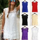 Women Vintage Sleeveless Lace Dress Sexy Summer Evening Party Lace Mini Dress