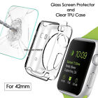 For Apple Watch Series 1 2 42mm Full Body Shockproof Clear Case + Tempered Glass