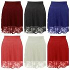 NEW WOMENS LADIES GLAMOROUS FLORAL LACE SKATER LINED MINI FLARED SKIRT( SK19009)