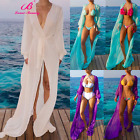 Womens Long Sleeve Beach Long Dress Sheer Cardigan Robe Swimwear Bikini Cover Up