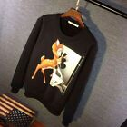 Black Graphic Print Givenchy' Sweater Deer Print Unisex Fleece Sweater Givenchy'