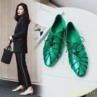 Fashion Women Leather Lace Up Flats Girl Casual Pointed Toe Sneakers Shoes