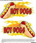 Hot Dogs w/ Flames Food Truck Concession Trailer Cart Sign Decal Set-Choose Size