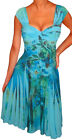 QN@ Funfash Plus Size Women Blue Floral Slimming Cocktail Dress New Made in USA