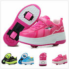 Girls Boys Retractable Two Wheels Roller Skate Shoes Unisex Adults Kids Sneakers