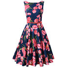 Tulip Women Sleeveless Audery Hepburn Vintage Dresses with Belt Retro Sundress