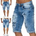 Herren Bermuda Ripped Jeans Shorts Destroyed Löcher Risse Biker Naht Patches Wow