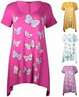 Womens Plus Size Top Short Sleeve Uneven Hem Butterfly Print Ladies Long T-Shirt