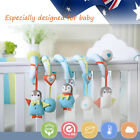 Baby Kid Cot Crib Bed Twirly Whirly Pram Toy Penguin Elephant Bird Cotton Blue