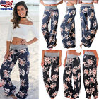 Womens Floral Print High Waist Loose Stretch Baggy Wide Leg Yoga Casual Trousers