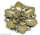 Wholesale Bronze Tone Filigree Flower Wraps Connnector Embellishments 4.5x4.2cm