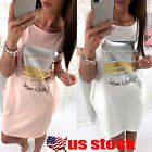 Summer Women Short Sleeve Bodycon Casual Party Evening Cocktail Short Mini Dress
