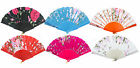 Chinese Japanese Foldable Lace Trim Hand Fan 6 Colors Floral Print U.S. Seller