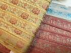 "VINTAGE Jacquard Rayon 3/8"" TRIM FRANCE RIBBON 1yd Embroidered SILK Roses"