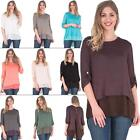 New Womens Back Button Chiffon Italian Layered Plain Top Size 10 12 14 16 18 20