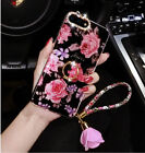 New Flowers with Rhinestone Ear Girls Women Slim Phone Case +Ring Holder+Strap